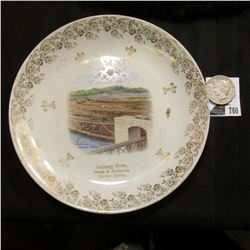 "9 1/4"" Souvenir Plate ""Jackson Bros. Meals & Groceries, Early, Iowa"" depicting ""Gatun Dam Panama Can"