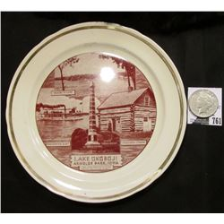 "9 1/4"" Souvenir Plate ""Lake Okoboji Arnolds Park, Iowa…"", depicts State Monument and more; & 1923 S"