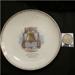 "8.5"" Souvenir Plate ""Liberty Bell, Philadelphia S.G. Fouse & Co. Dry Goods, Millinery, Groceries, Et"