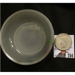 "Hand-painted Milk Glass Bowl ""Souvenir of Spencer, Iowa""; & 1922 D U.S. Peace Silver Dollar, VF."
