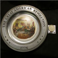 """1776 The Great American Revolution"" Pewter Plate; & 1922 P U.S. Peace Silver Dollar, VF."