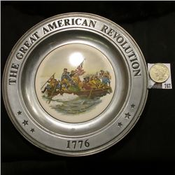 """1776 The Great American Revolution"" Pewter Plate; & 1923 P U.S. Peace Silver Dollar, VF."