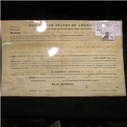 Land Grant issued at Burlington, Iowa to Wm. Brown Lee of Washington County, Pa. on 12/1/1841. Signe