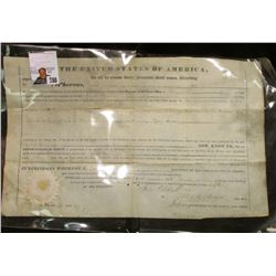 April 24th, 1841 Land Land Office Certificate for purchase of Land in Indiana. Signed President Fran