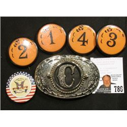 "Pinback # 1, 2, 3, & 4; Pin-back ""Labor Omnia Vincit""; & a Western Style Belt Buckle with  a large m"
