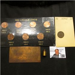 Reverse engraved copper printing plate; 10 gram copper weight; 1982 Seven variety Cent Set in holder