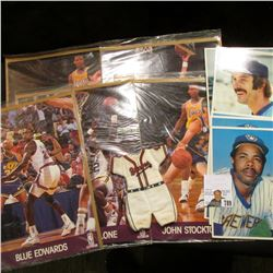 "Old ""Braves"" (Boston) Uniform, miniature; & (5) 1980 Over sized Topps Cards; & (5) Different 8 x 10"""