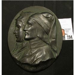 Dante e Beatrice Bronze plaque, height 5.5 inches - width 4.5 inch (13,5 x 11 cm),  an Italian artif
