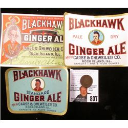 "1874 U.S. Indian Head Cent & Three-different ""Blackhawk Ginger Ale"" Bottle Labels"
