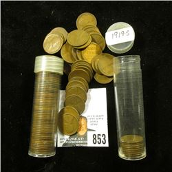 (2) Solid Date Rolls of 1919 S & 19 D U.S. Lincoln Wheat Cents in plastic tubes. Average circulated.