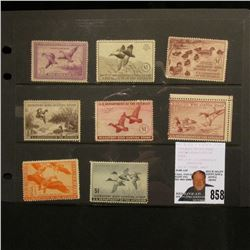 Set of 8 unsigned, mint condition U.S. Department of Agriculture Migratory Bird Hunting Stamps, incl