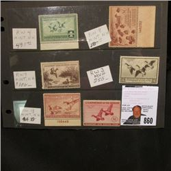 Set of 6 unsigned, mint condition U.S. Department of Agriculture Migratory Bird Hunting Stamps, incl