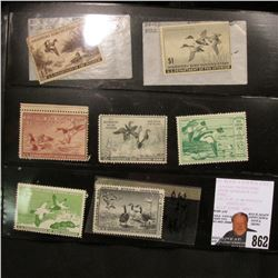 Set of 7 unsigned, mint condition U.S. Department of Agriculture Migratory Bird Hunting Stamps, incl