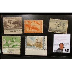 Set of 5 unsigned, mint condition U.S. Department of Agriculture Migratory Bird Hunting Stamps, incl
