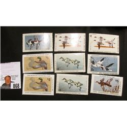 (9) Iowa migratory Waterfowl Stamps, all unsigned.