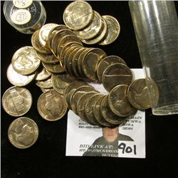 (36) 1954 S Jefferson Nickels in a plastic tube, all Gem BU.