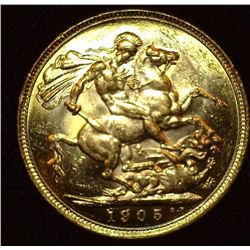 1905 Melbourne, Australia Gold Sovereign, Brilliant Uncirculated. .917 fine Gold, .2355 ozs.