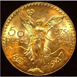 1821-1947 Mexico Fifty Pesos .900 fine Gold, 1.2056 oz. Gem BU.