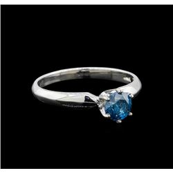 14KT White Gold 0.68 ctw Round Cut Fancy Blue Diamond Solitaire Ring