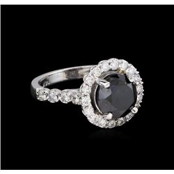 3.76 ctw Black Diamond Ring - 14KT White Gold