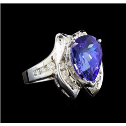 14KT White Gold 4.58 ctw Tanzanite and Diamond Ring