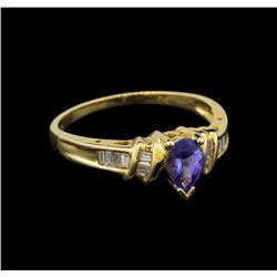 14KT Yellow Gold 0.62 ctw Tanzanite and Diamond Ring