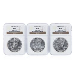 1986-1991 NGC MS69 $1 American Silver Eagle Coin Set