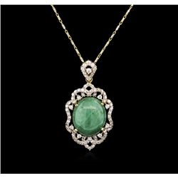 13.59 ctw Jade and Diamond Pendant With Chain - 14KT Yellow Gold