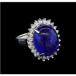 13.98 ctw Tanzanite and Diamond Ring - 14KT White Gold