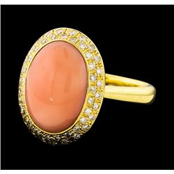 Coral and Diamond Ring - 18KT Yellow Gold