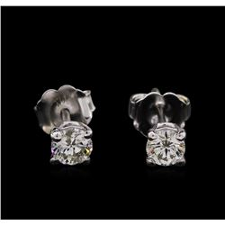 0.48 ctw Diamond Stud Earrings - 14KT White Gold