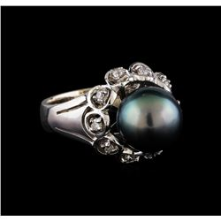 0.25 ctw Diamond and Pearl Ring - 14KT White Gold
