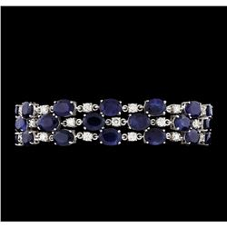 55.52 ctw Sapphire and Diamond Bracelet - 14KT White Gold