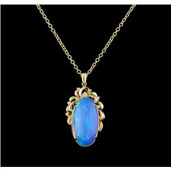 15.66 ctw Opal and Diamond Pendant With Chain - 14KT Yellow Gold