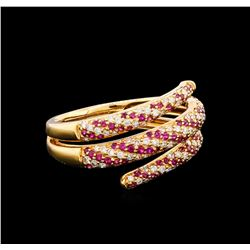 0.37 ctw Ruby and Diamond Ring - 18KT Rose Gold