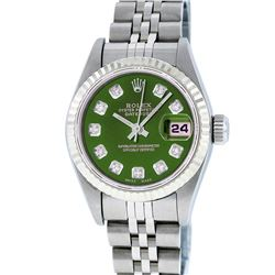 Rolex Stainless Steel Diamond Quickset DateJust Ladies Watch