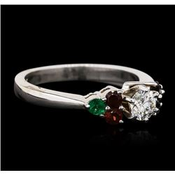 14KT White Gold 0.40 ctw Diamond, Garnet and Emerald Ring