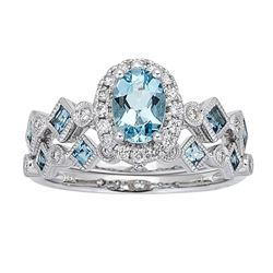 0.55 ctw Aquamarine and Diamond Ring - 14KT White Gold
