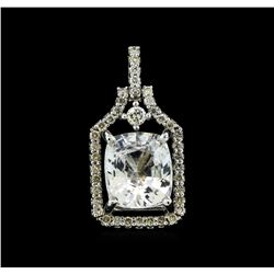 3.78 ctw White Sapphire and Diamond Pendant - 14KT White Gold