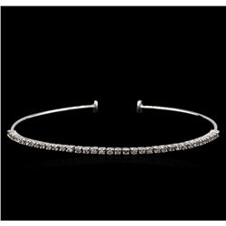 0.70 ctw Diamond Bangle Bracelet - 14KT White Gold