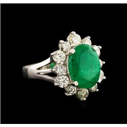 14KT White Gold 3.41 ctw Emerald and Diamond Ring