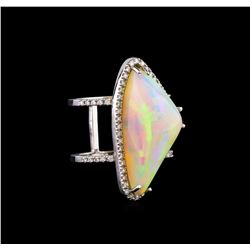 16.15 ctw Opal and Diamond Ring - 14KT White Gold