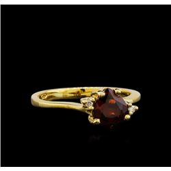 Garnet and Diamond Ring - 14KT Yellow Gold