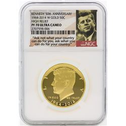 2014-W PF70 Ultra Cameo High Relief 50th Anniversary Kennedy Half Dollar