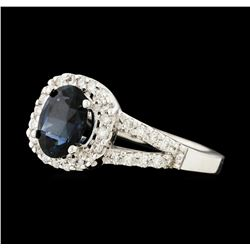 1.1 ctw Sapphire and Diamond Ring - 14KT White Gold