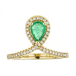 0.63 ctw Emerald and Diamond Ring - 18KT Yellow Gold