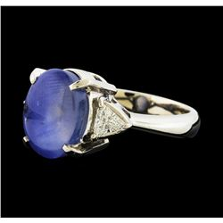 8.18 ctw Star Sapphire and Diamond Ring - Platinum