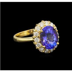 14KT Yellow Gold 4.18 ctw Tanzanite and Diamond Ring