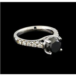 3.09 ctw Black Diamond Ring - 14KT White Gold