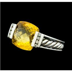 David Yurman 3.00 ctw Orange Citron and Diamond Ring - Sterling Silver